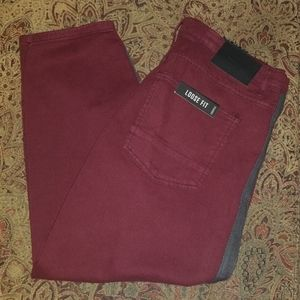 🆕️ Maroon with Black Side Stripe Cropped Jeans